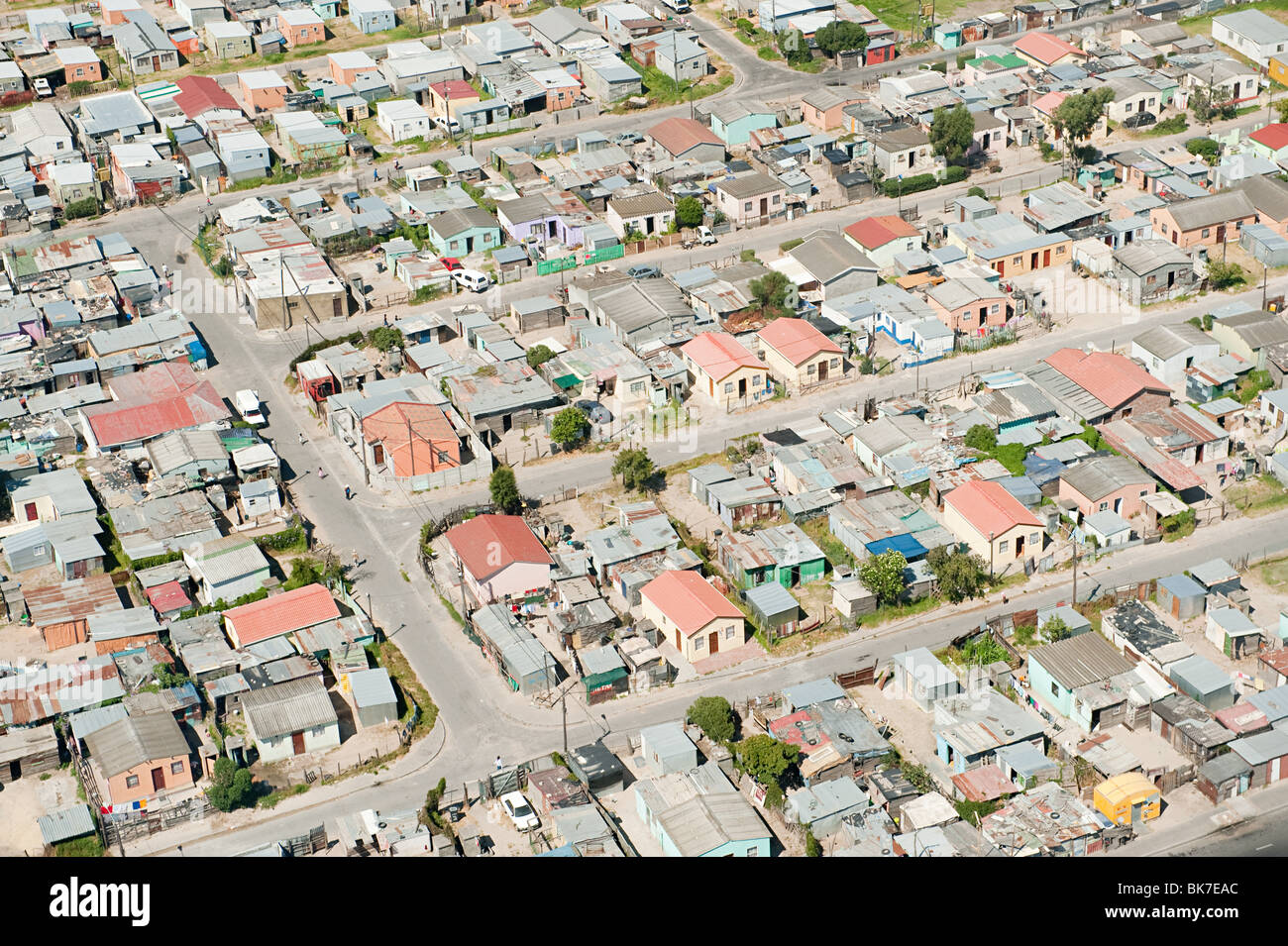 Aerial view of cape town shanty town Stock Photo