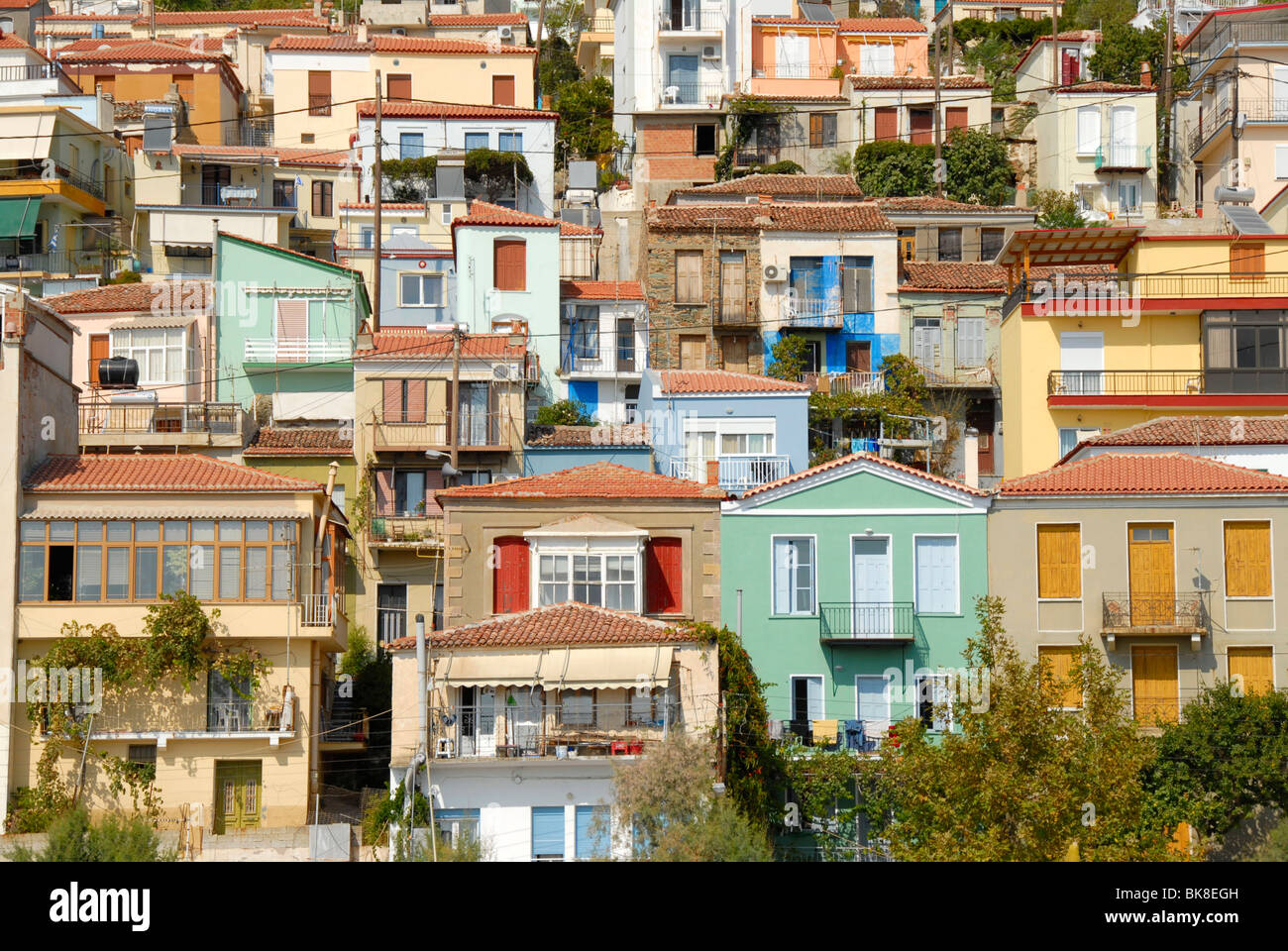 Town built on a hill, many-coloured houses, Plomari ...
