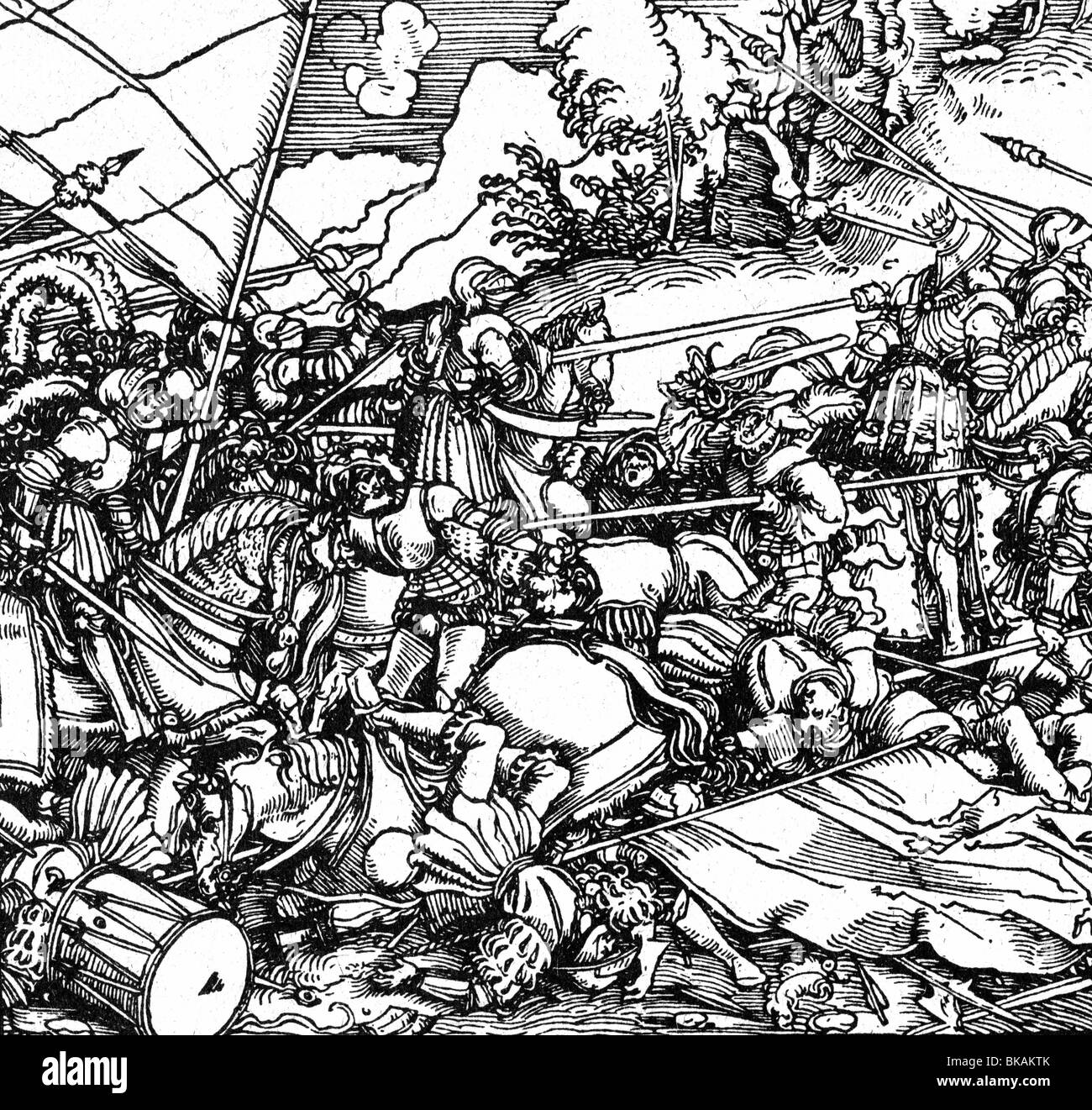 "Military, Knights, Battle Scene, Woodcut By The ""Petrarca"