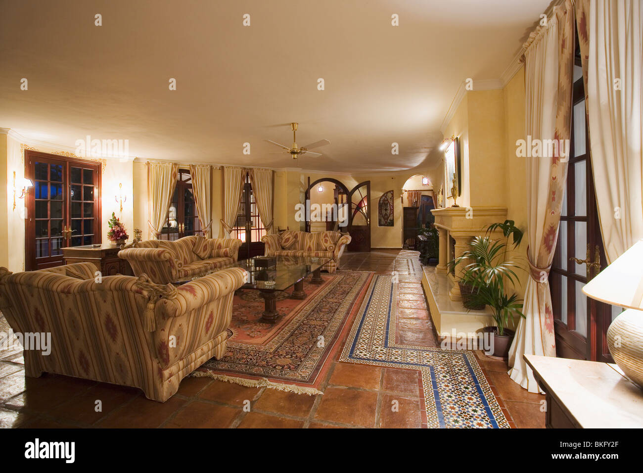Terracotta And Moroccan Floor Tiles On Floor Of Large Spanish Country Stock Photo Royalty Free