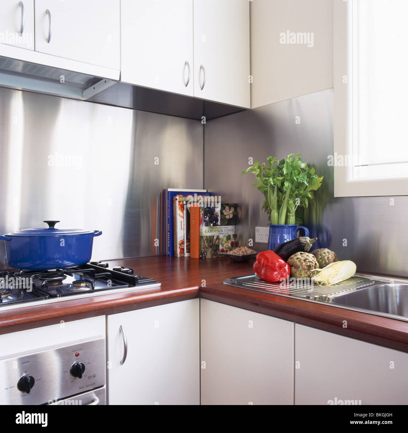Jjo Urban Kitchen Modern Fitted Kitchens: Wood Worktops On Fitted Units In Modern White Kitchen With