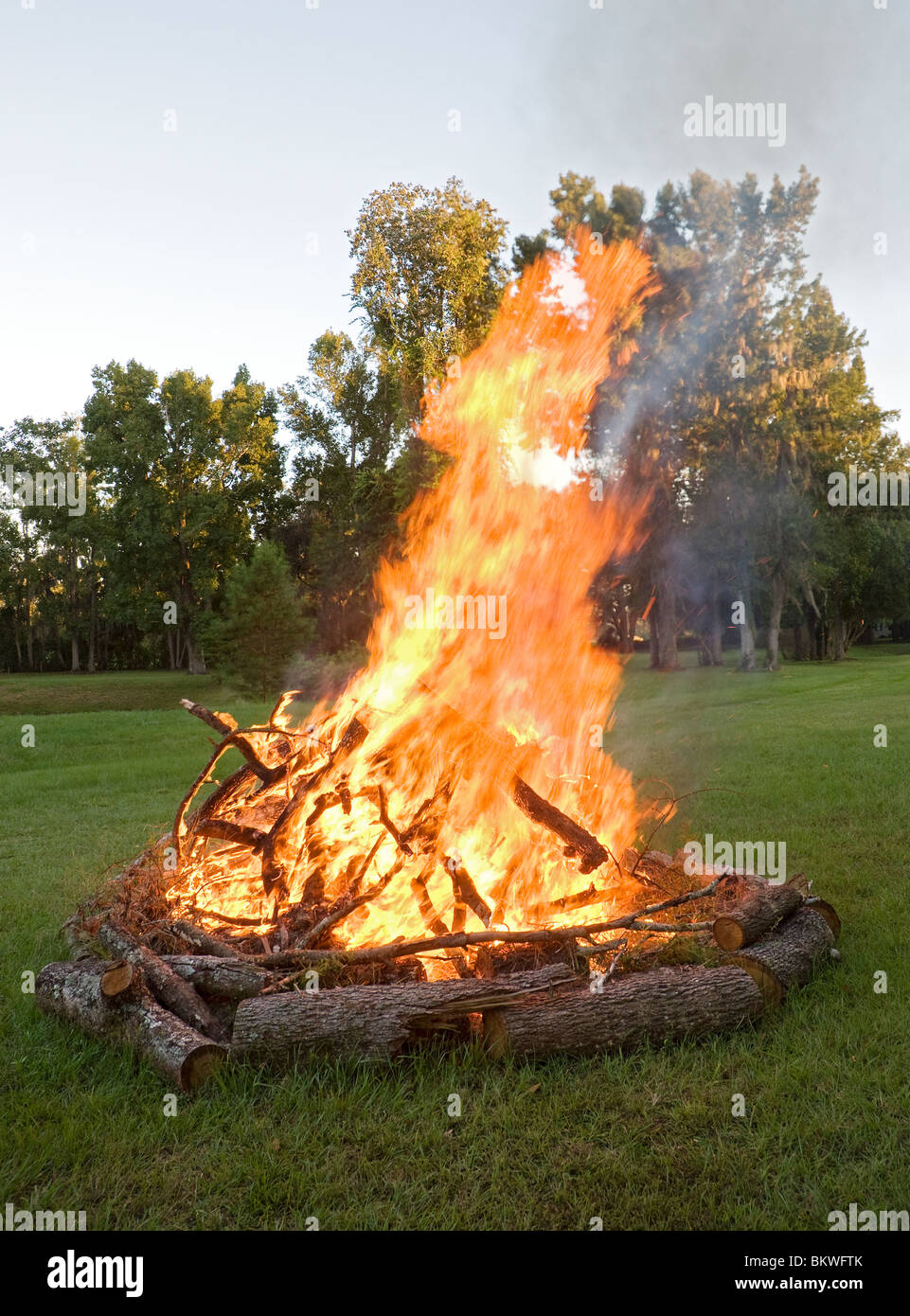 bonfire fire outdoors wood rural large flames burn burning ...