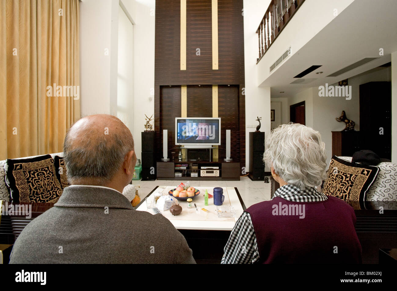 Old Couple In Modern Villa Old Couple With Big Tv Screen Living Stock Photo Royalty Free