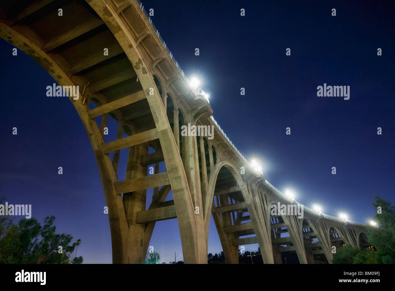 Underneath the Colorado Street Bridge, aka Suicide Bridge, in Pasadena, California Stock Photo
