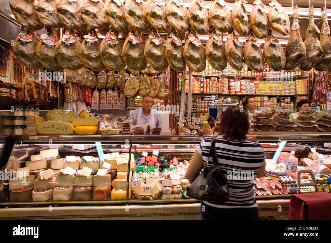 Mercado Central, central market, Serrano ham, Valencia, Spain Stock Photo, Ro...