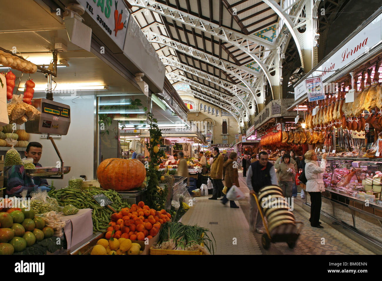 Mercado Central, central market, Valencia, Spain Stock Photo, Royalty Free Im...