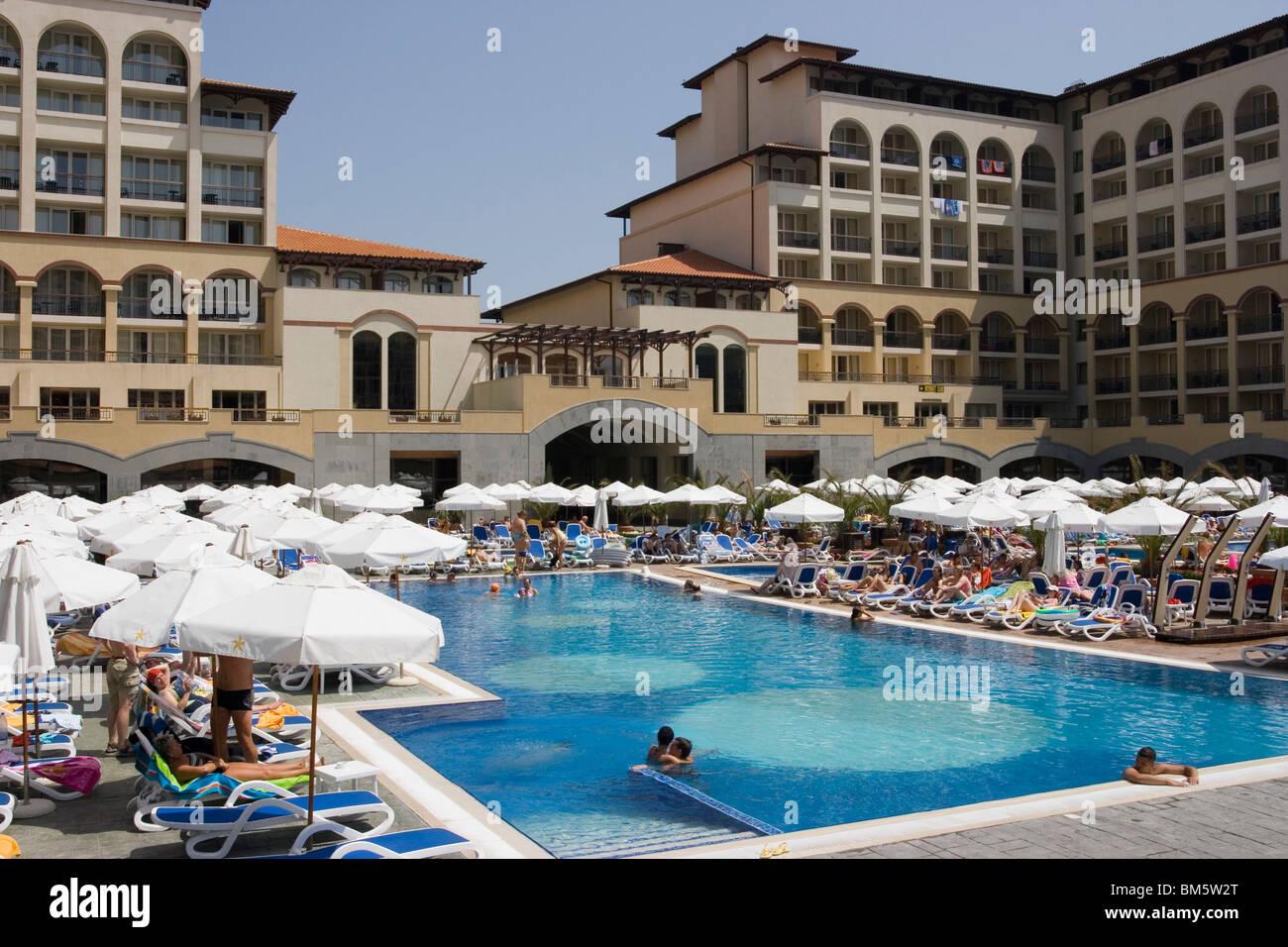 Pool from above sunny beach people having fun black sea - Sunny beach pools ...