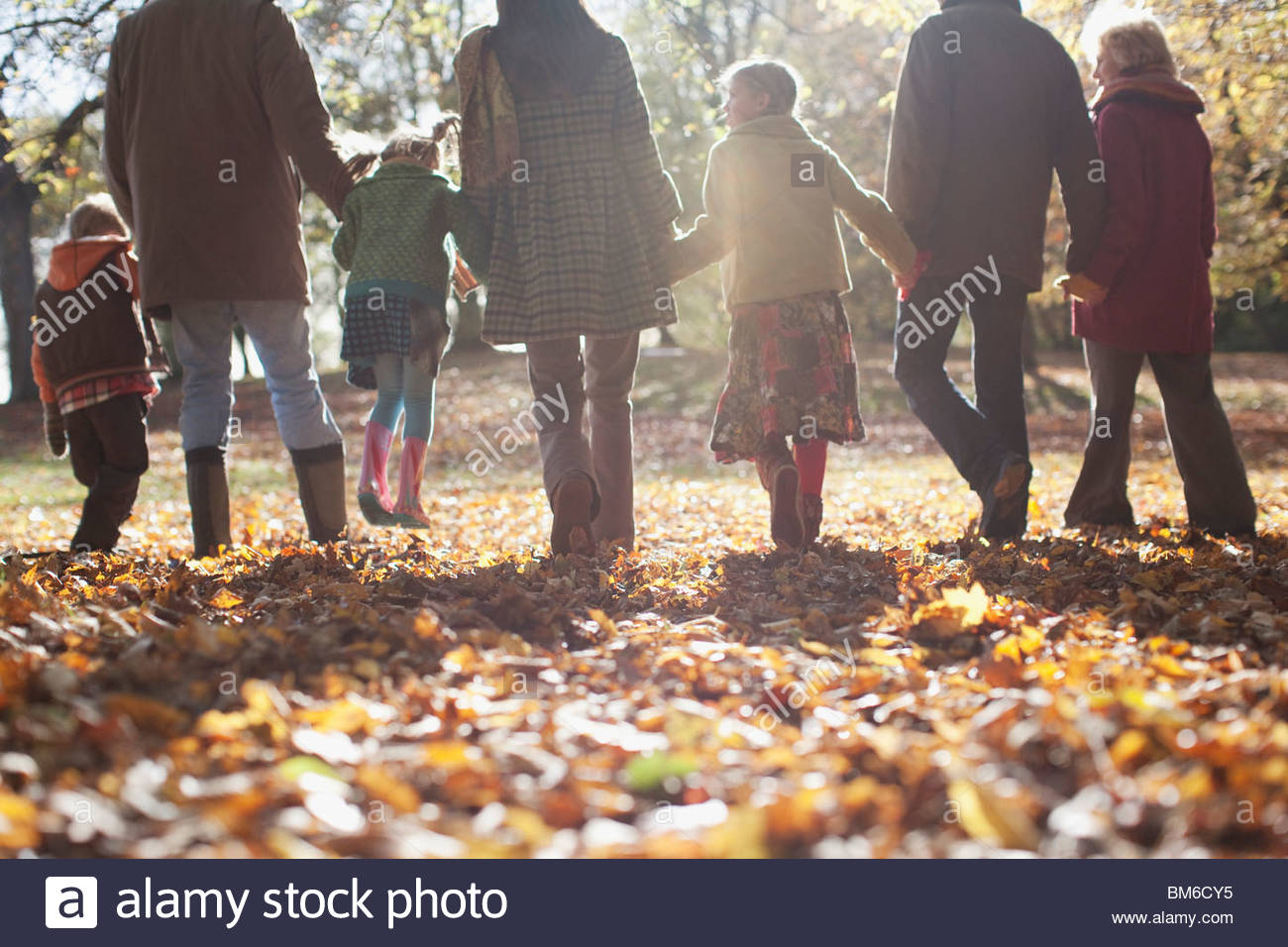 Extended family holding hands and walking outdoors Stock Foto