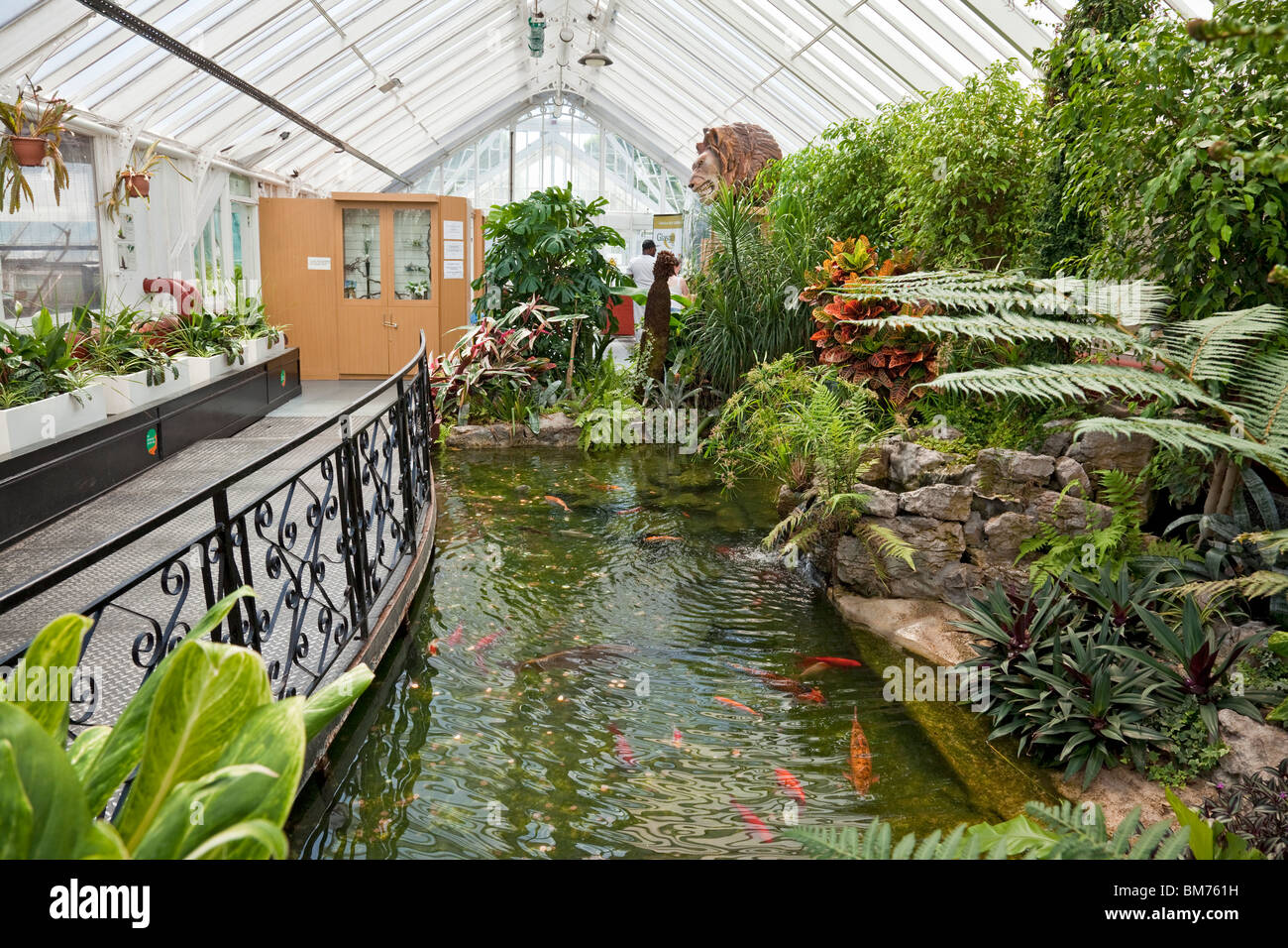 Koi carp pool in the glasshouse of queen 39 s park in the for Garden design queens park