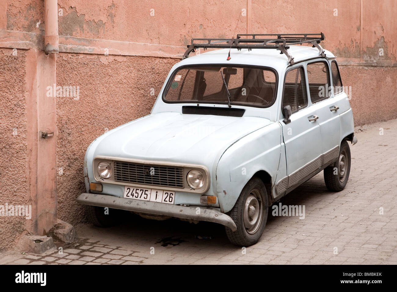 old renault 4 car parked in street in the medina marrakesh morocco stock photo royalty free. Black Bedroom Furniture Sets. Home Design Ideas
