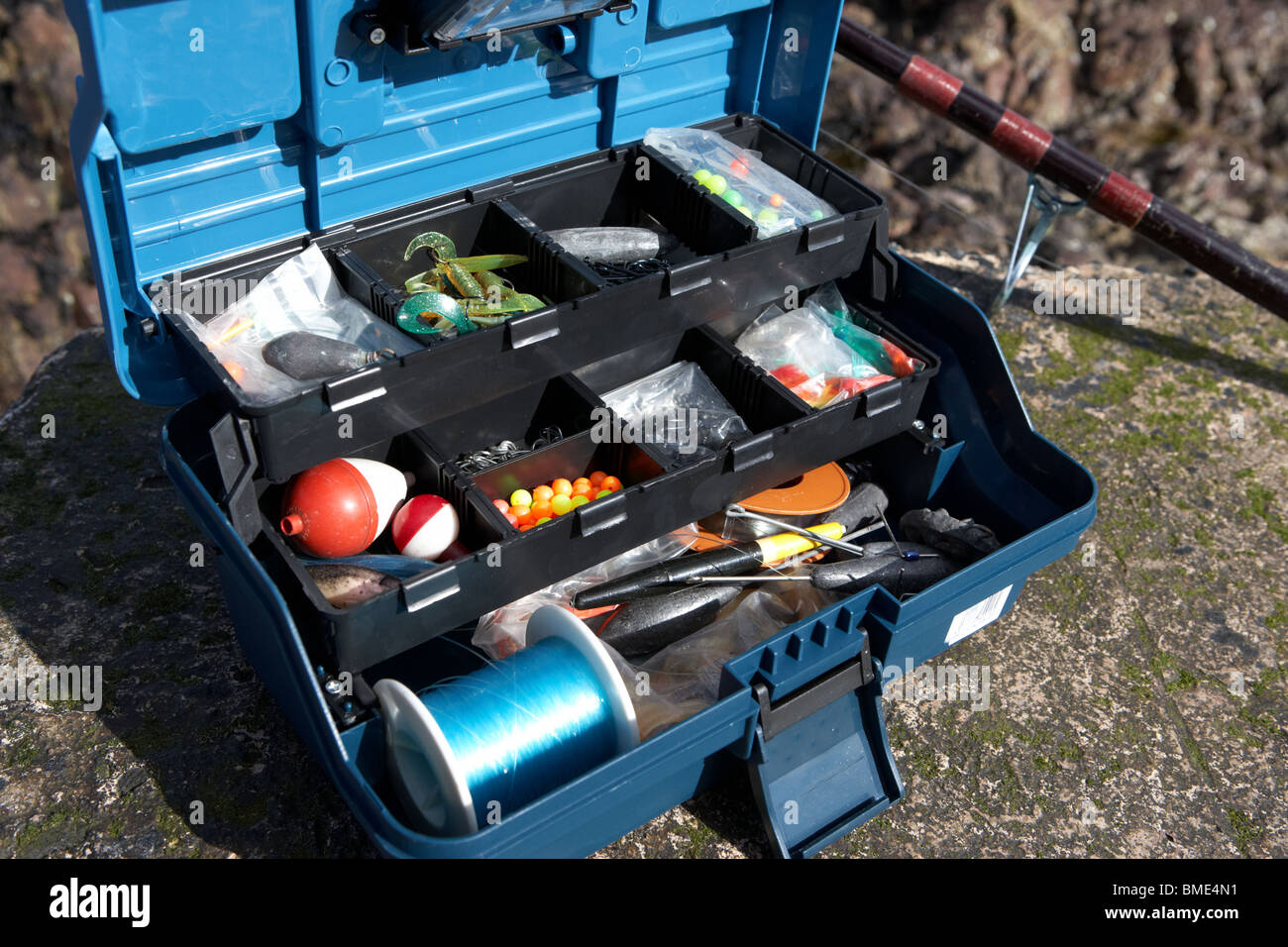 Fishing tackle box filled with sea fishing gear and rod uk for How to get free fishing gear