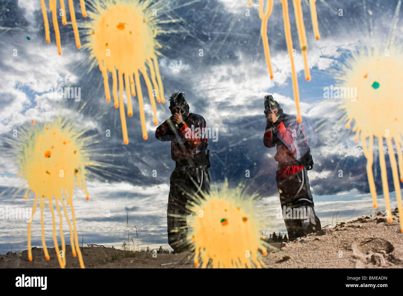 Men playing paintball, Sweden. Stock Foto
