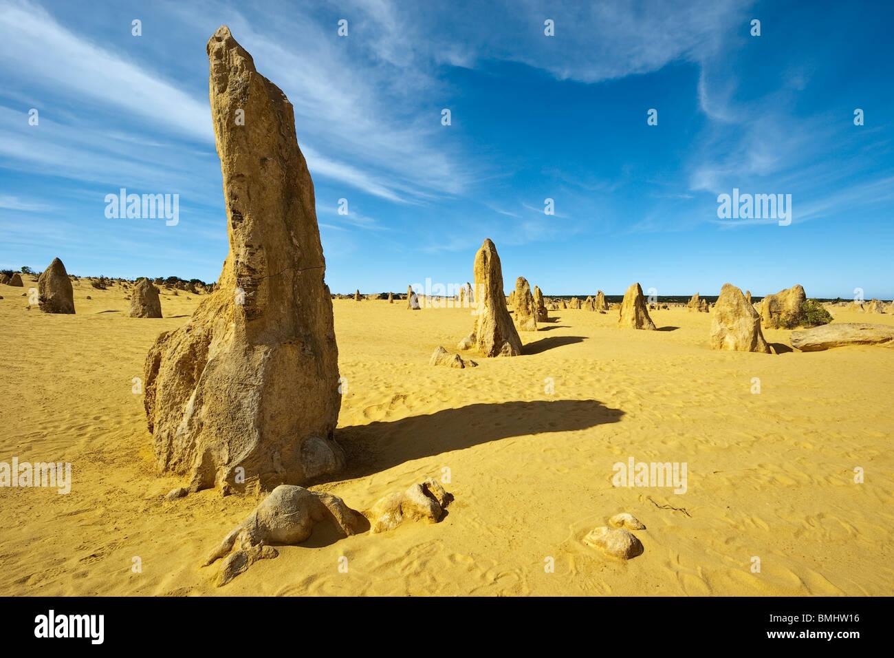 Desert Rock Pillars : Rock pillars of eroded limestone in the pinnacles desert