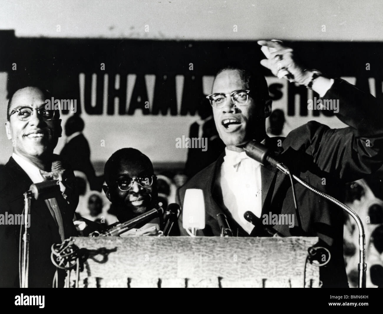 MALCOLM X  (1925-1965) African-American minister and human rights activist as head of the self-styled Nation of Stock Foto