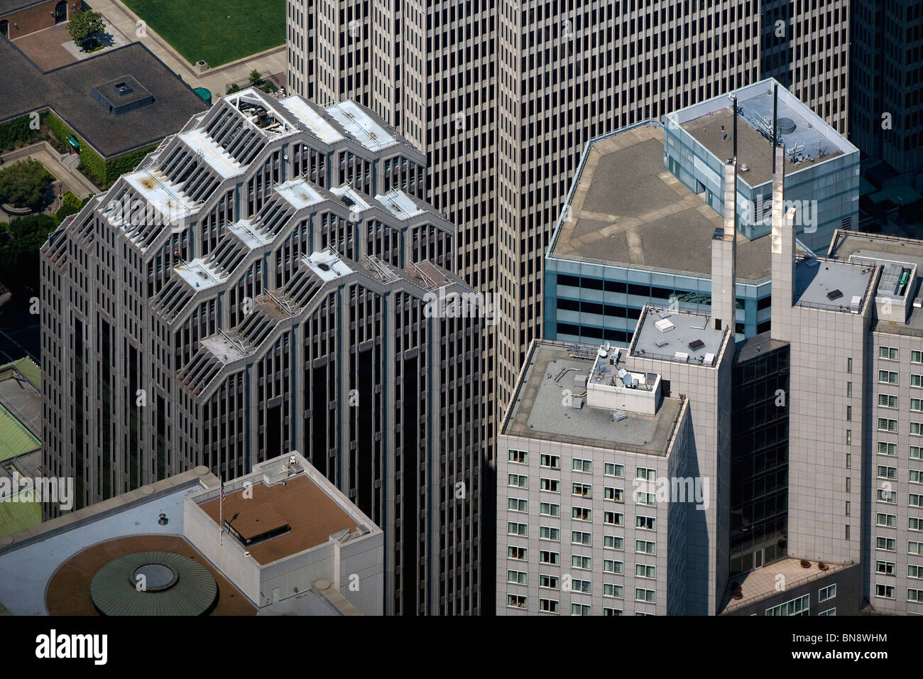 aerial view above skyscrapers San Francisco California Stock Photo