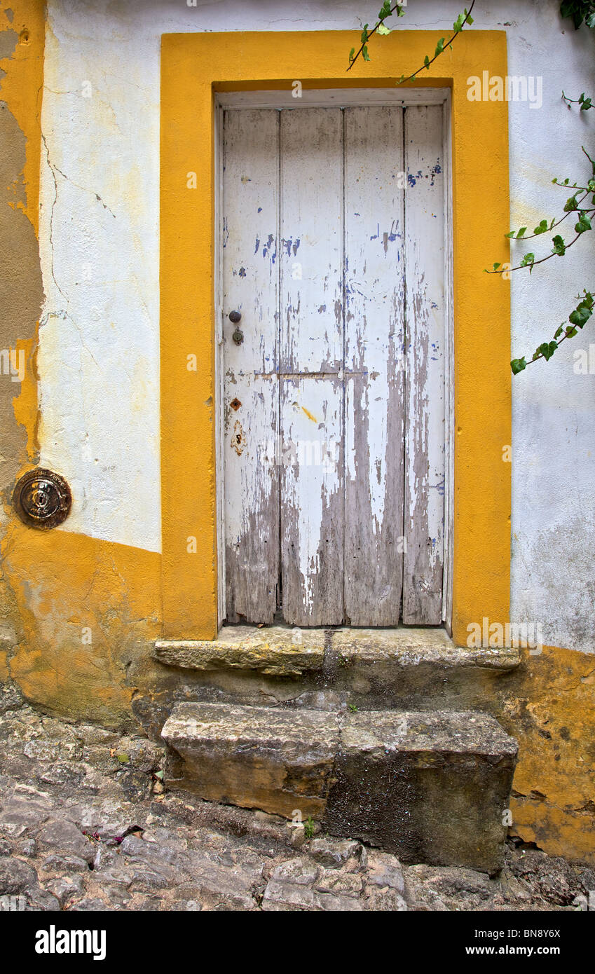 White Painted Wood Door In A Medieval Village Of Old World Europe Stock Photo Royalty Free