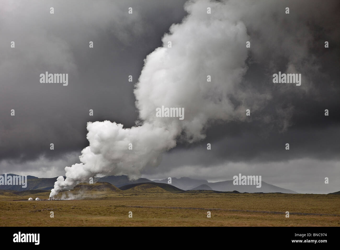 Geothermal hot springs steaming, South Coast, Iceland Stock Foto