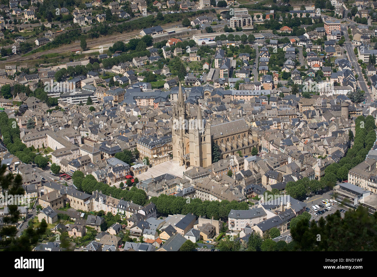 an aerial view of mende and its basilica cathedral lozere stock photo royalty free image. Black Bedroom Furniture Sets. Home Design Ideas