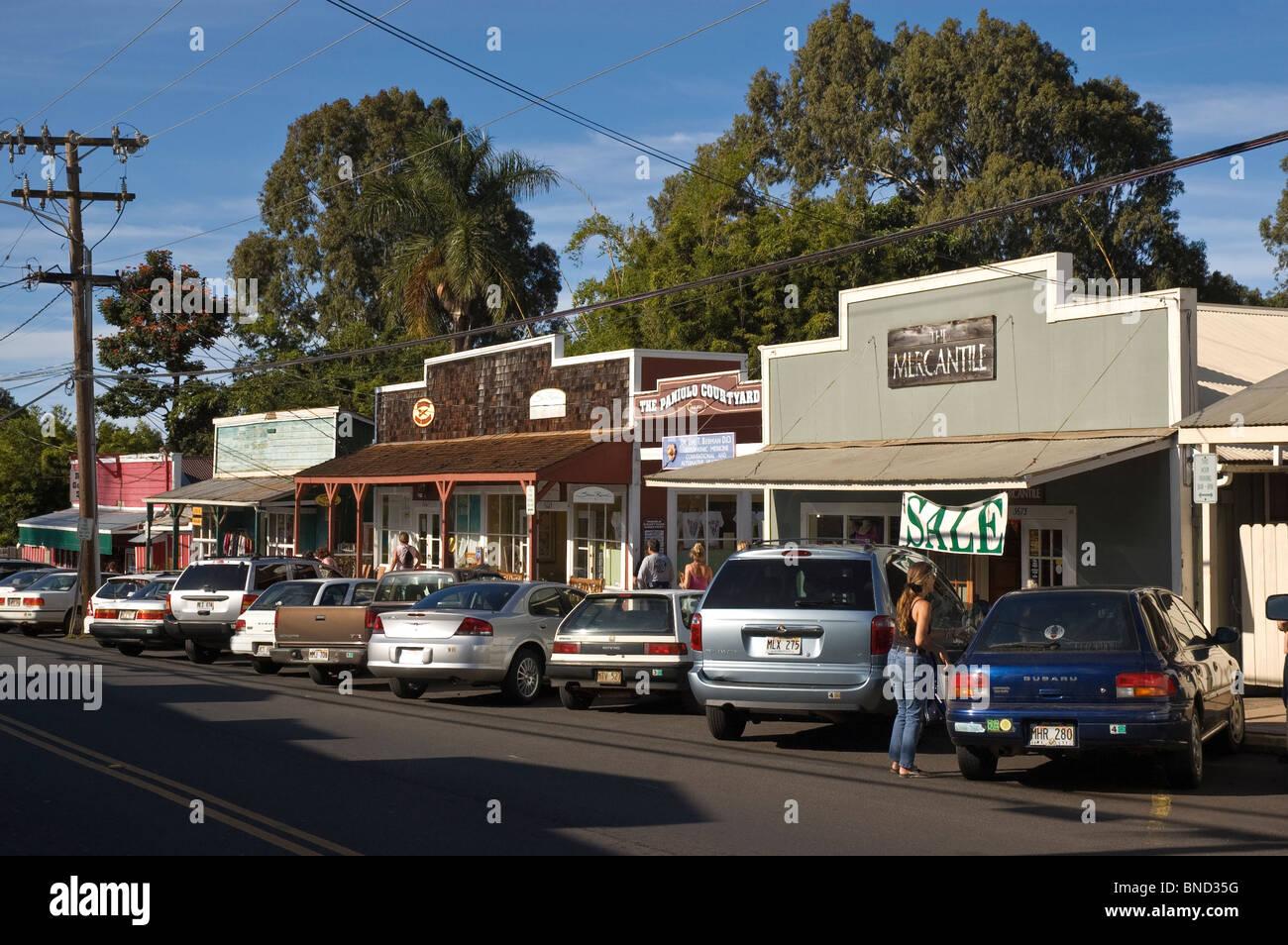 Elk284-4701 Hawaii, Maui, Upcountry, Makawao, town scene Stock Photo