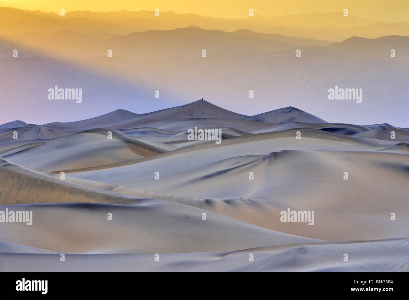 Sand dunes in a desert, Mesquite Flat Dunes, Death Valley, Panamint Range, California, USA Stock Foto