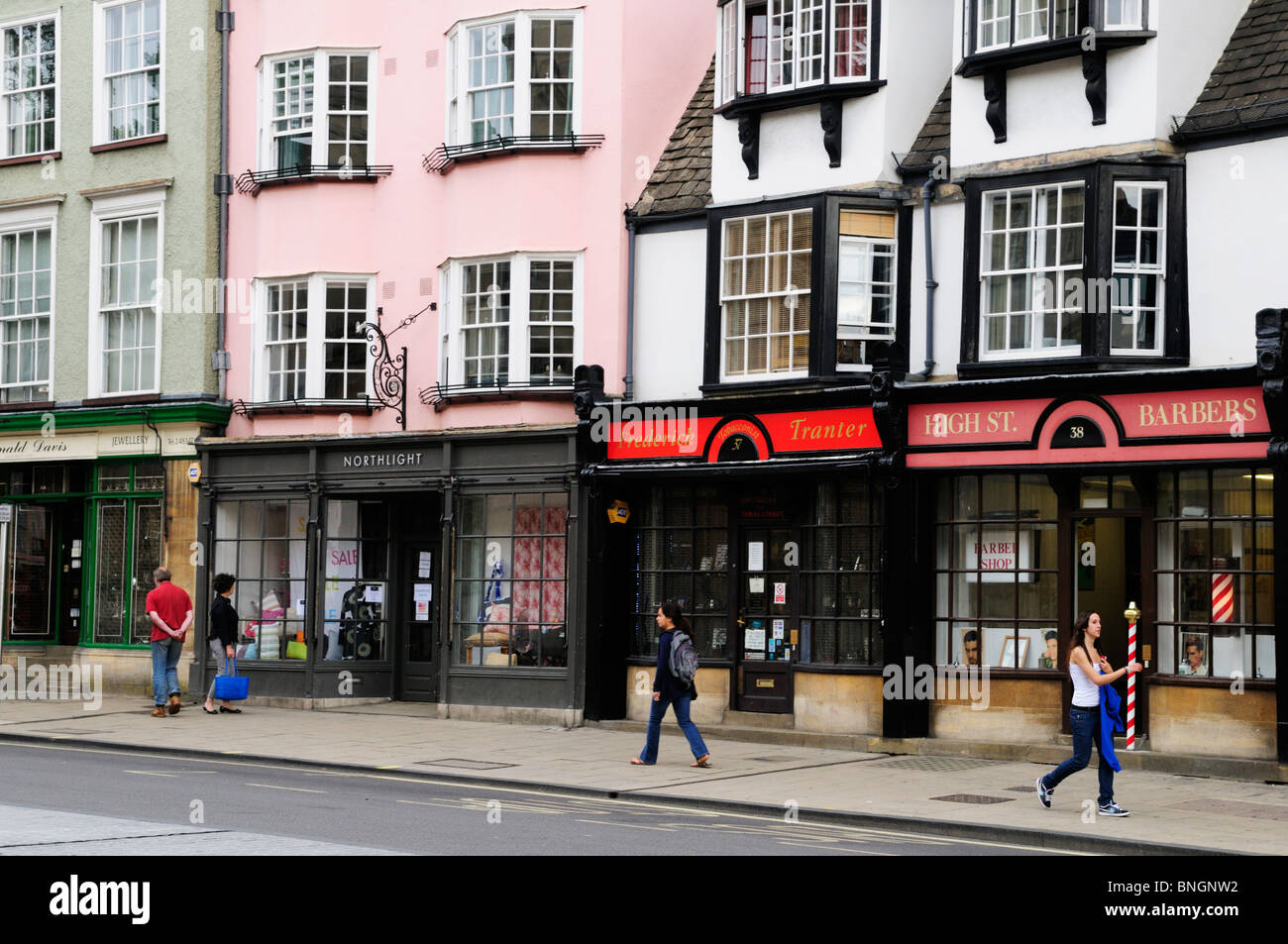 Shops Along Oxford High Street Oxford England Uk Stock