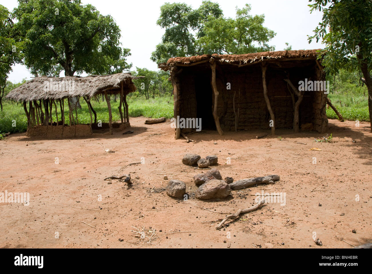 Abandoned homestead in the Gonja triangle, Damango district, Ghana. Stock Photo