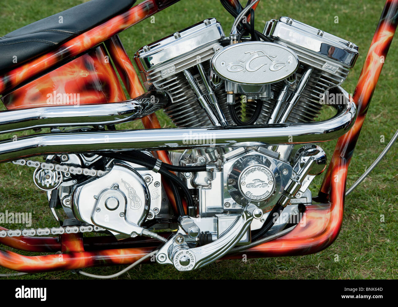 custom chopper harley davidson motorcycle with a v twin panhead stock photo  royalty free image