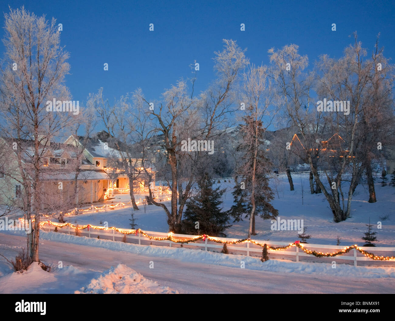 forest home decorated with christmas lights at dusk anchorage alaska