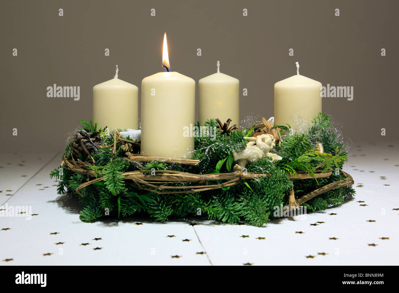 1 4 advent advent wreath advent time deko decoration adornment angels stock photo royalty free. Black Bedroom Furniture Sets. Home Design Ideas
