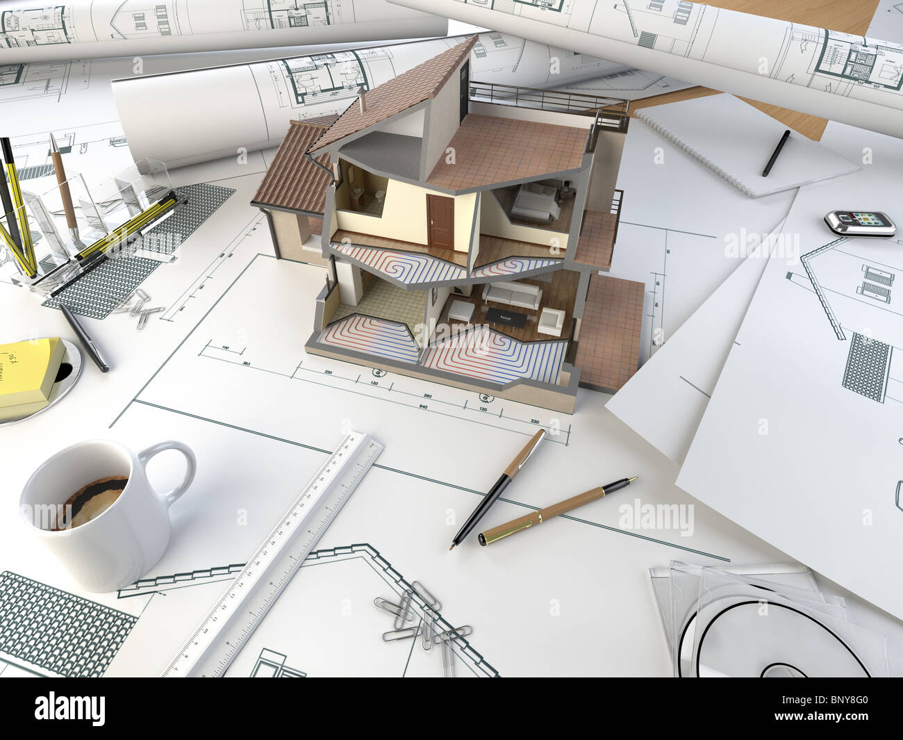 Drawing table of an architect with the plans and 3d for Architetto 3d gratis