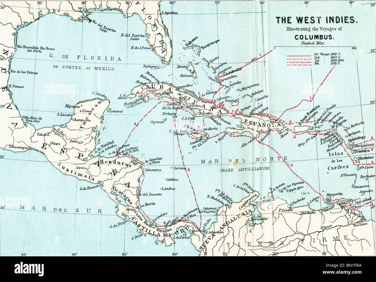 Map Of The West Indies Illustrating The Voyages Of