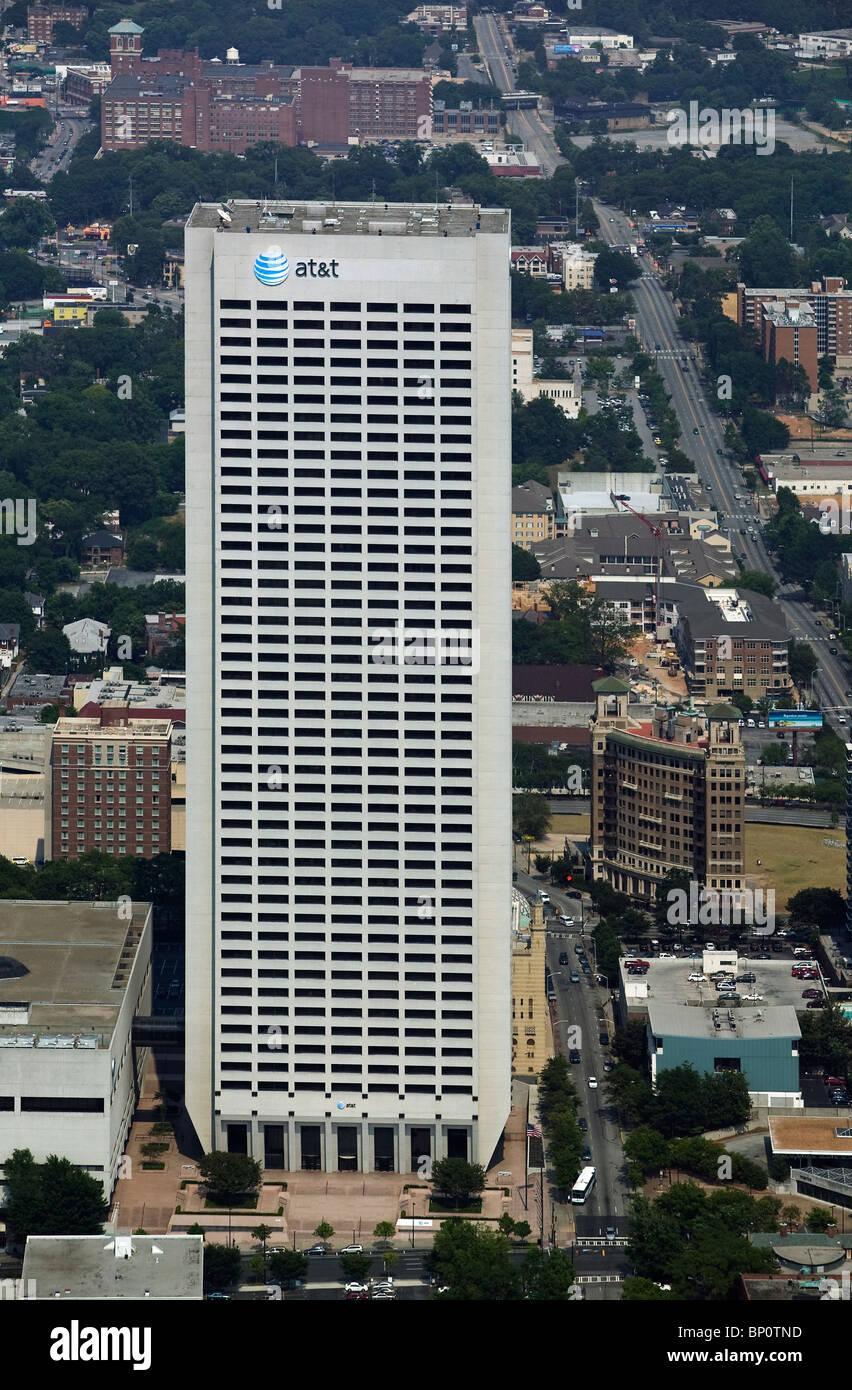 aerial view above AT&T Midtown Center Atlanta Georgia Stock Photo