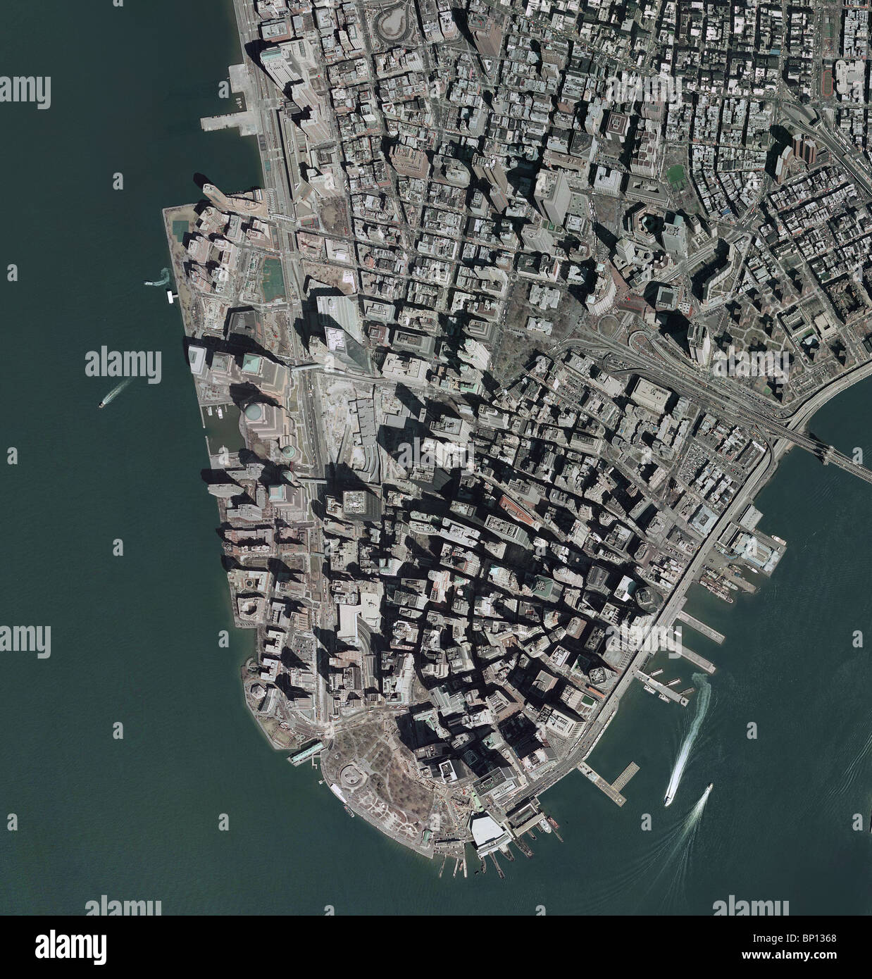 Aerial Map View Above Downtown Manhattan New