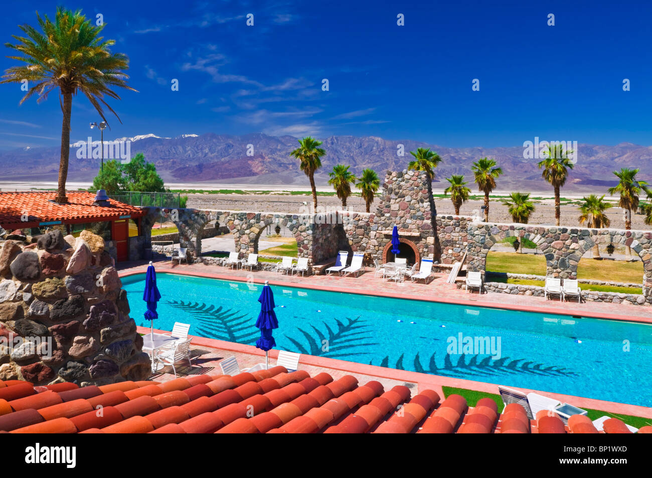 The Swimming Pool And Tile Roof At Furnace Creek Inn