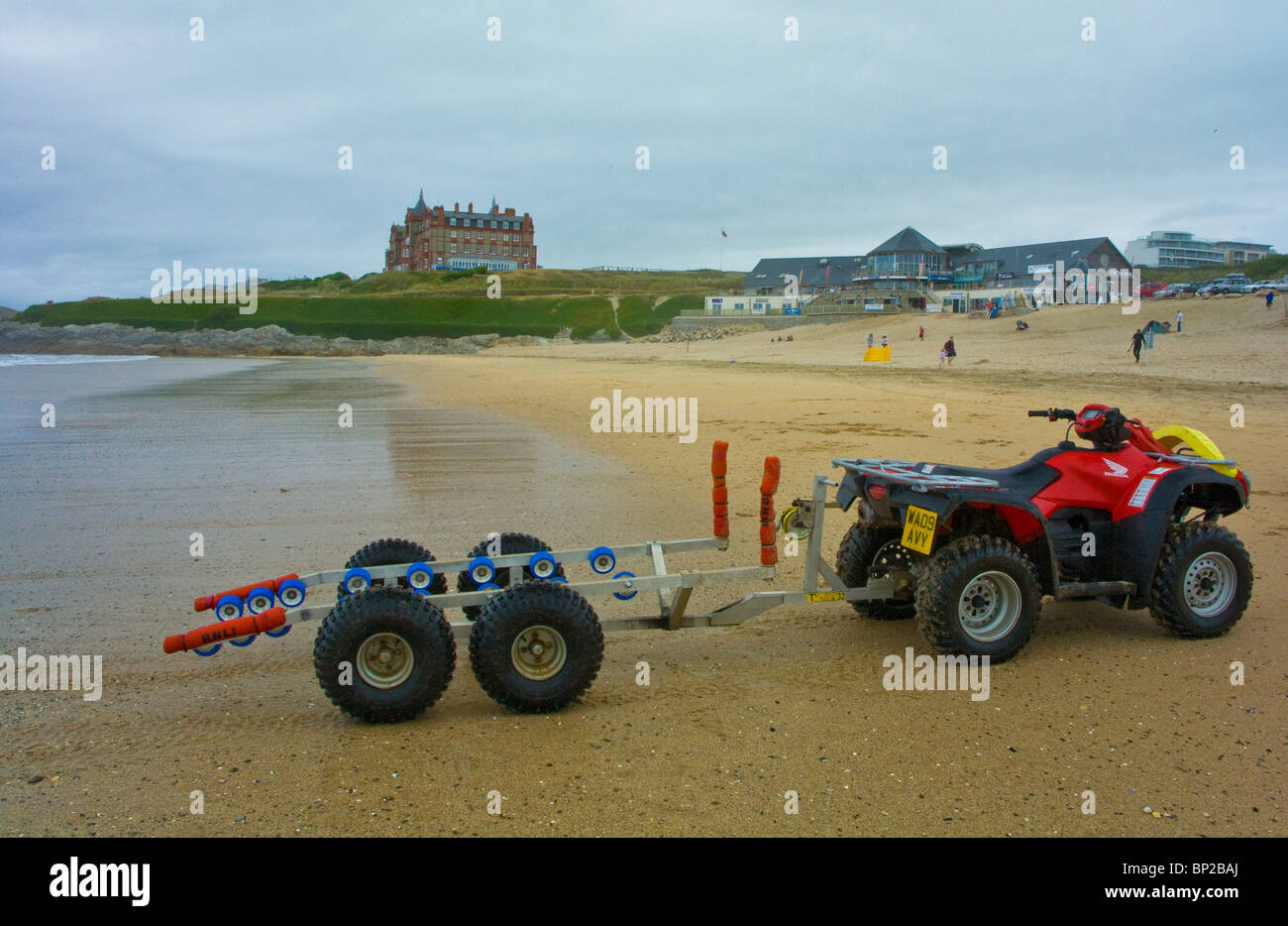 lifeguard equipment quad bike jet ski trailer fistral beach stock photo royalty free image. Black Bedroom Furniture Sets. Home Design Ideas
