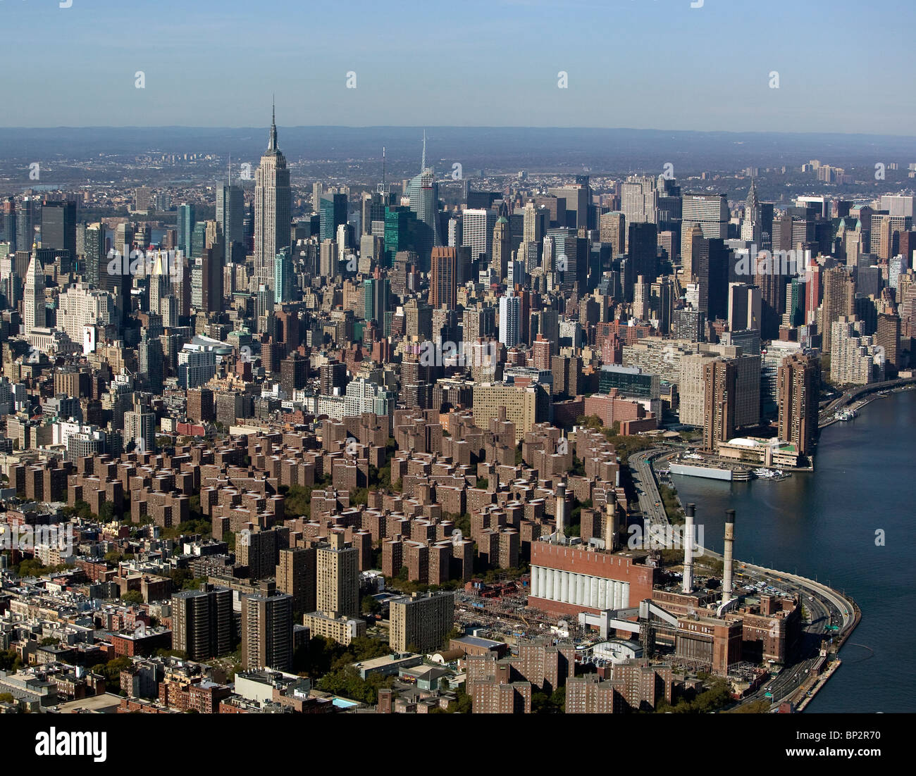 Aerial view above skyline stuyvesant town midtown for Stuyvesant town nyc