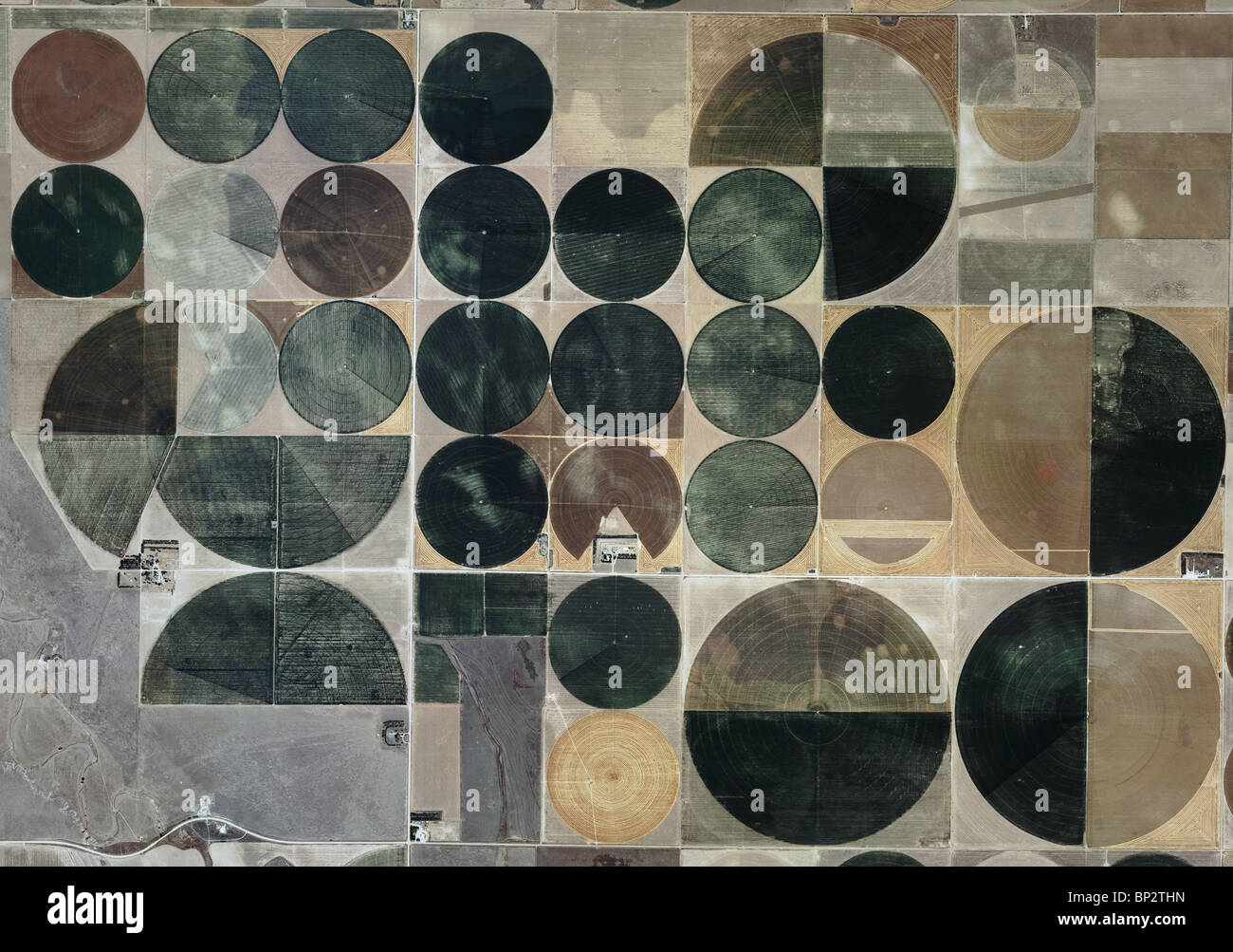 aerial map view above pivot irrigation circles Edwards county Kansas Stock Photo