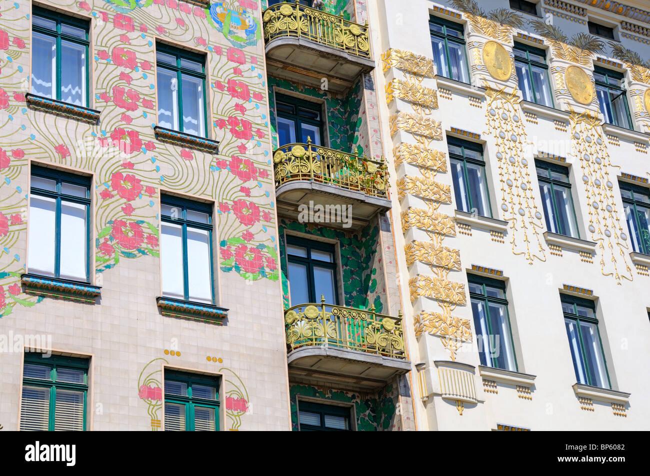 vienna austria art nouveau jugendstil balconies of majolicahaus stock photo royalty free. Black Bedroom Furniture Sets. Home Design Ideas