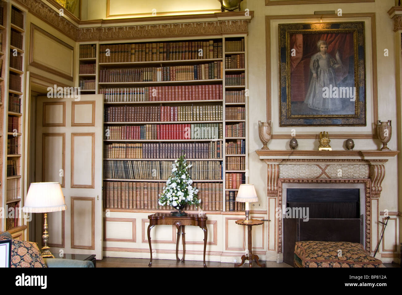 Country house room traditional library painting stock for Country house online
