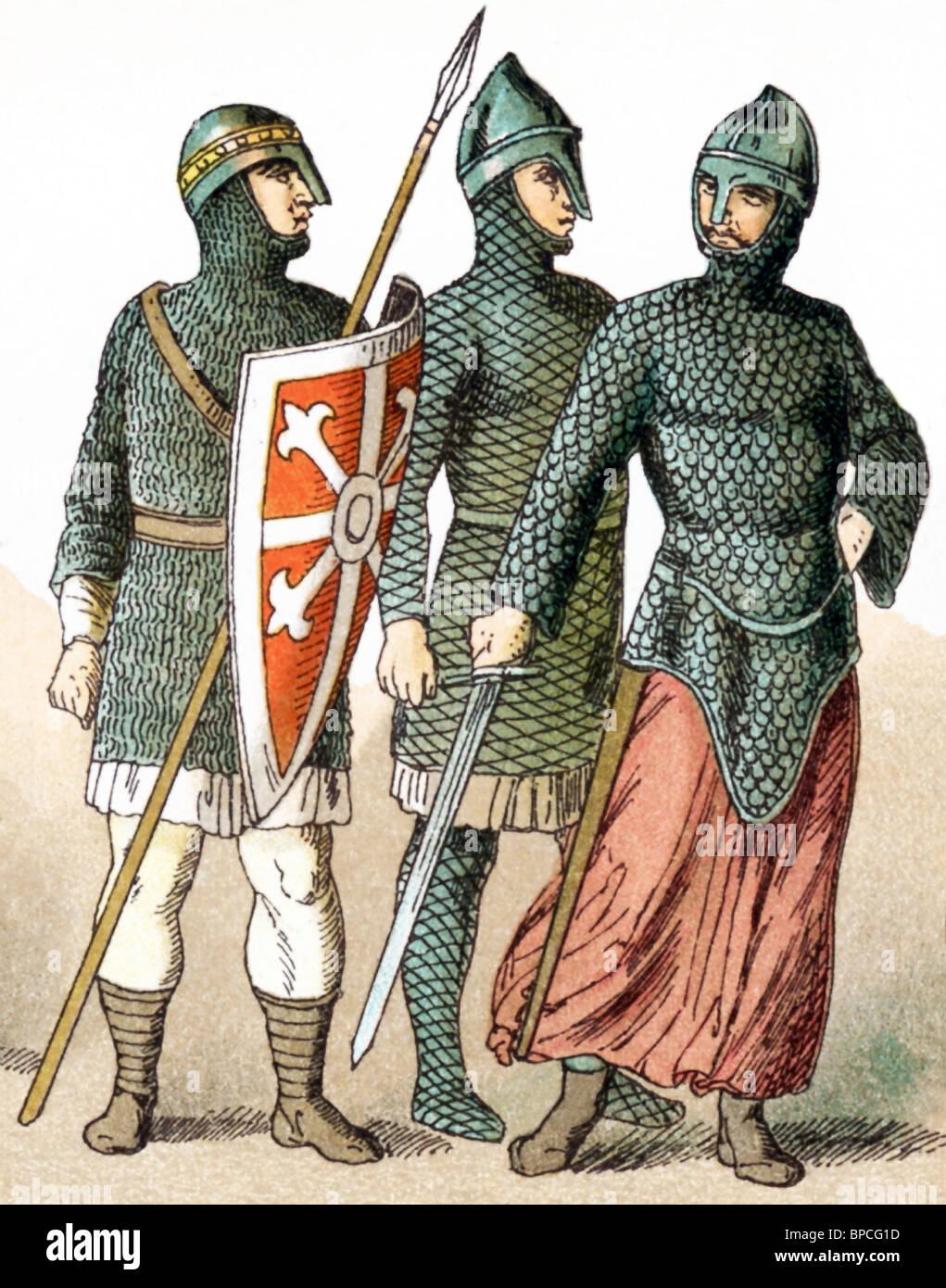 The figures represented here are Norman warriors between A.D. 1000 and 1100. Stock Photo