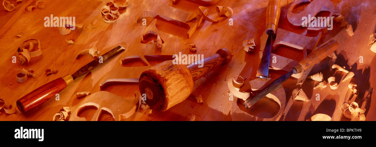 Wood Carving Letters On Wooden Stock Photo Royalty Free