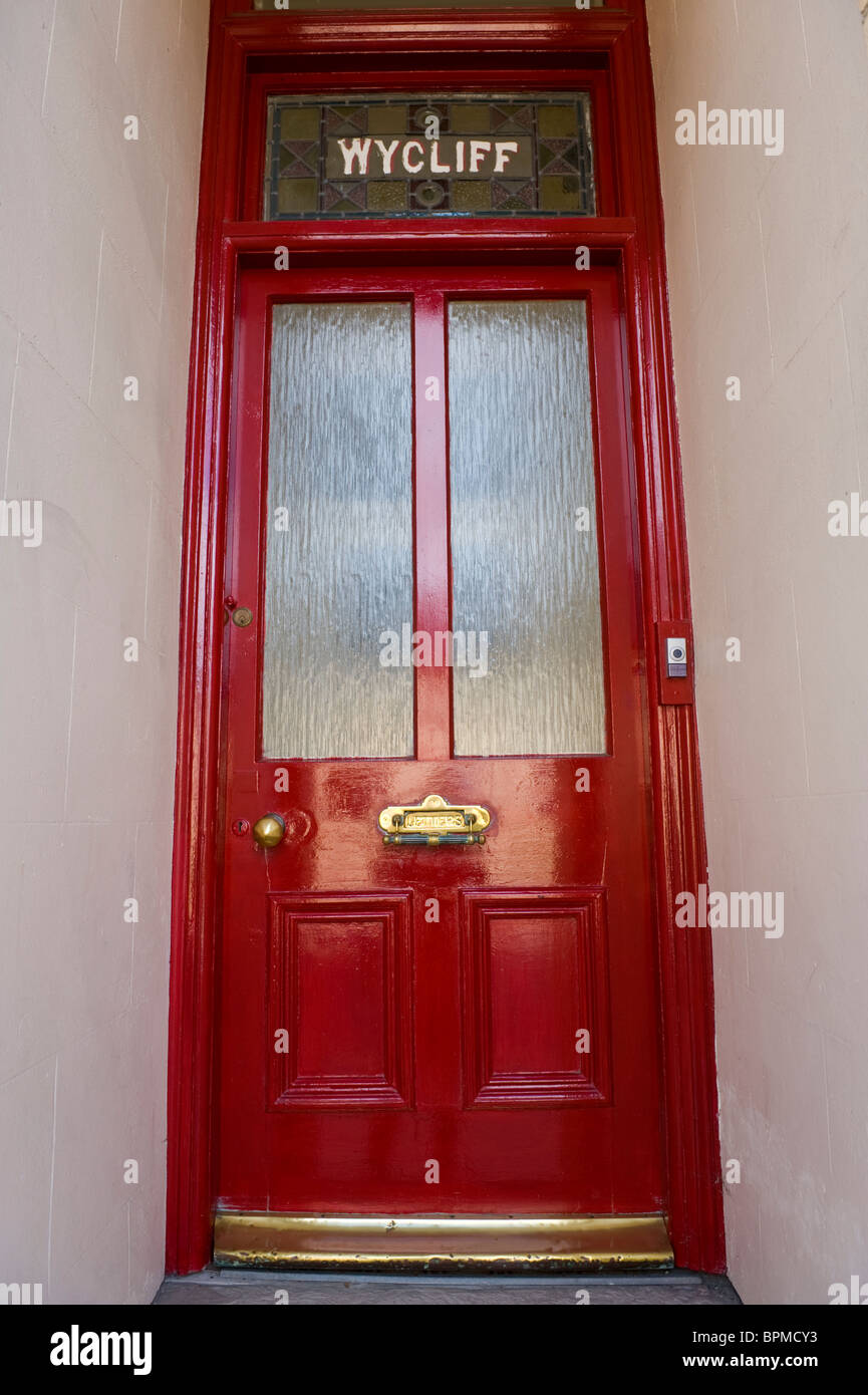 Victorian Paneled And Half Glazed Red Painted Front Door