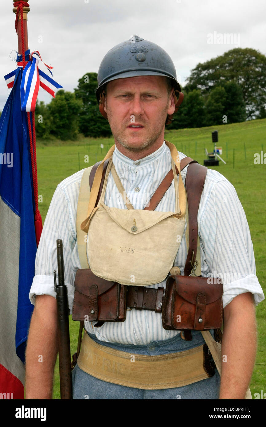 Male reenactment group soldier wearing the uniform of a ...