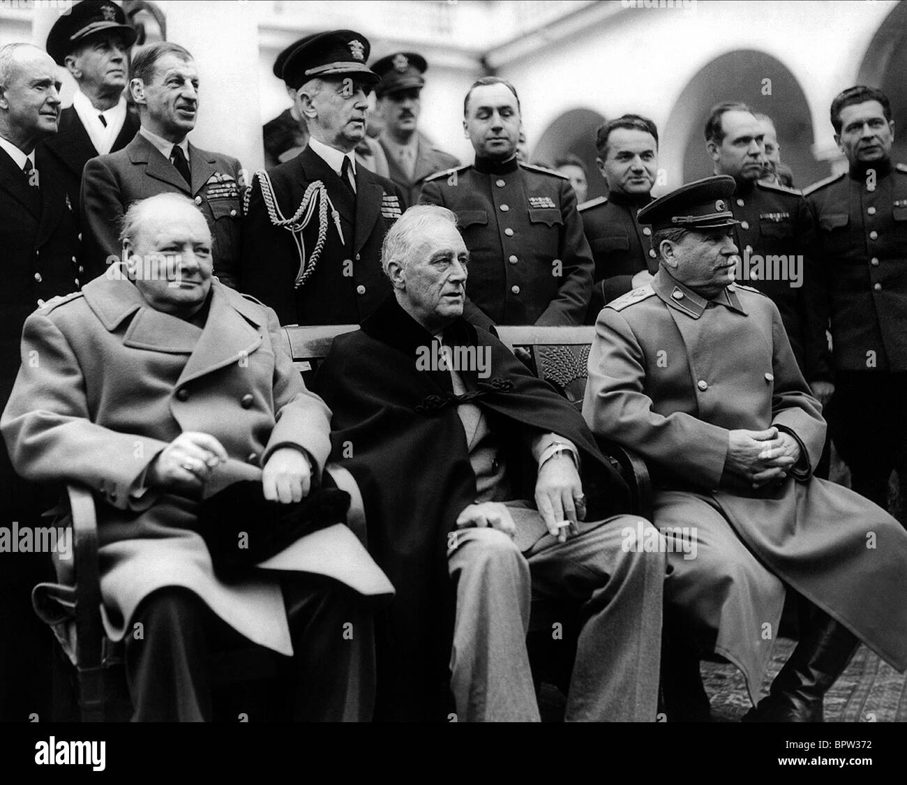 WINSTON CHURCHILL Franklin D. Roosevelt & JOSEPH STALIN THE BIG THREE 11 February 1945 LIVADA PALACE Stock Photo