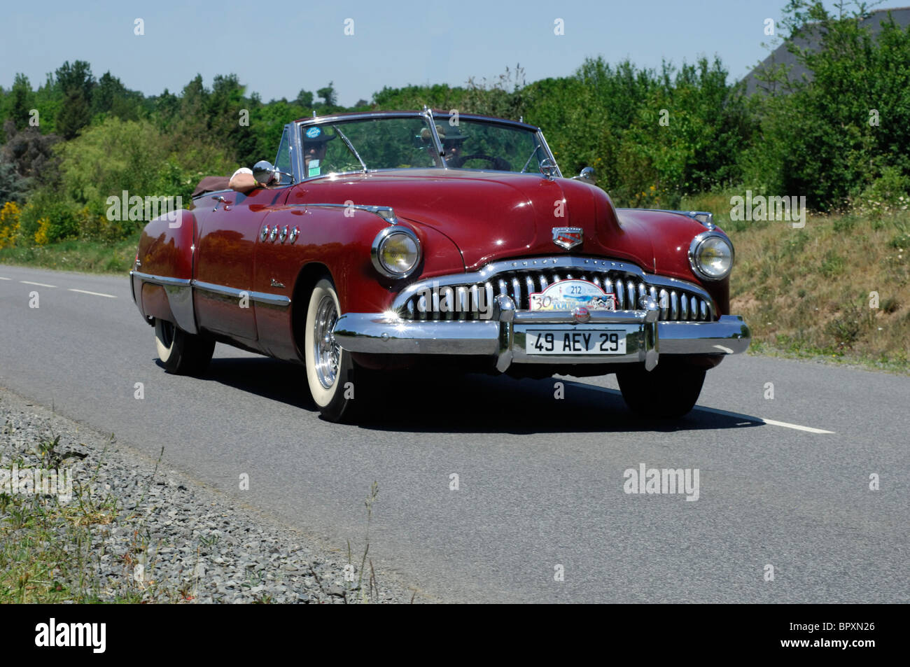 buick roadmaster 1949 in the tour de bretagne classic car rally stock photo royalty free. Black Bedroom Furniture Sets. Home Design Ideas