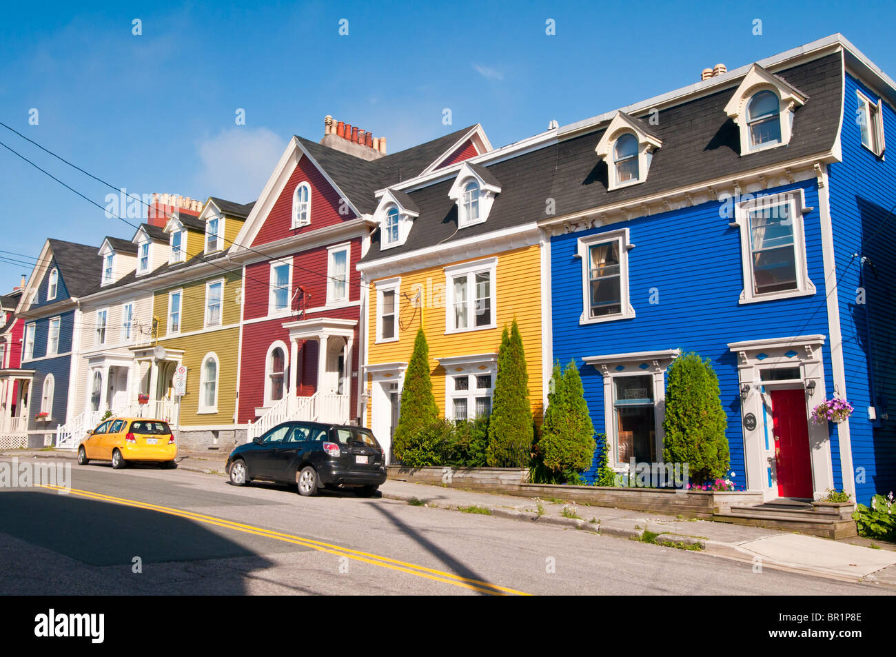 Colorful jelly bean row houses gower street st john 39 s for Home plans newfoundland