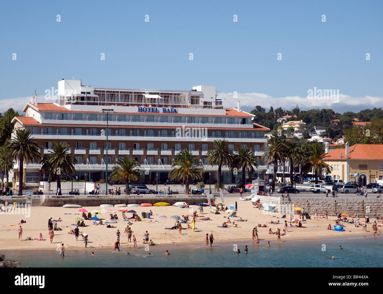 sunbathers on the at cascais a resort town near