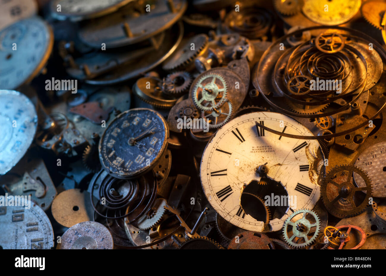 Pocket watch parts still-life, extremely detailed Stock Photo