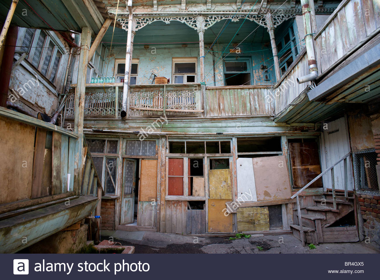 Old Houses With Wooden Balconies In Tbilisi Georgia