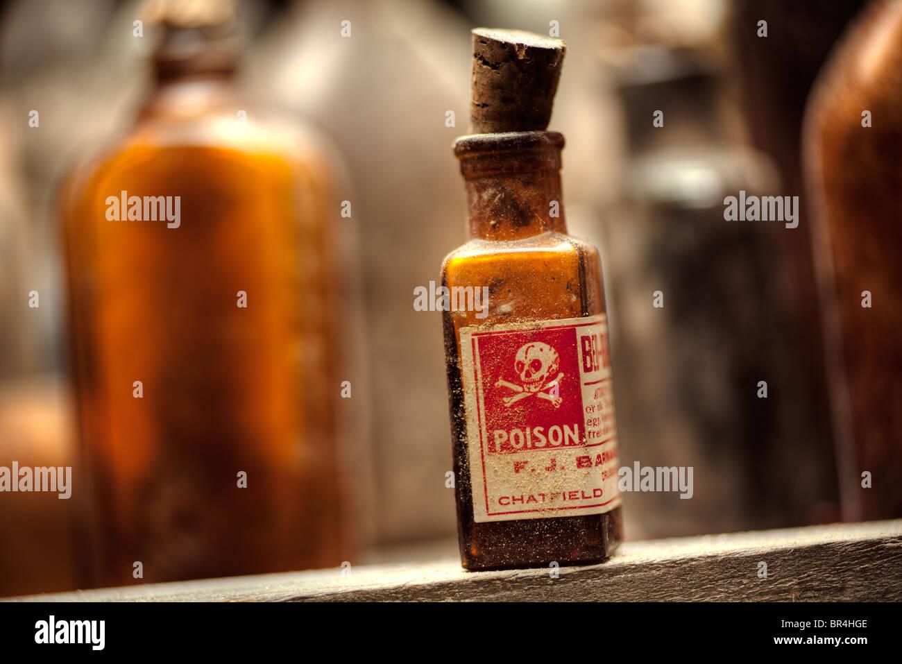 Poison bottles still-life Stock Photo